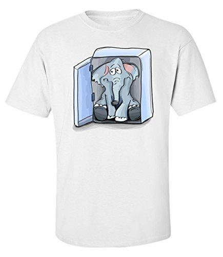Elephant in the fridge funny parody cartoon logo Herren baumwolle t-shirt Weiß