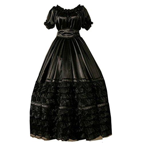 Partiss lace ruffles à manches courtes pour femme style gothique lolita fancy dress costume victorian Noir