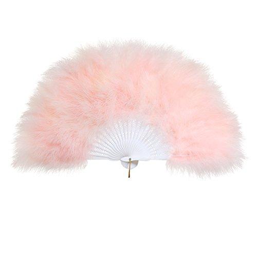 BABEYOND Damen Fächer Marabou Feder 1920s Vintage Stil Retro Handfächer Damen Gatsby Kostüm Flapper Zubehör (Baby (Kostüme Flapper Baby Pink)