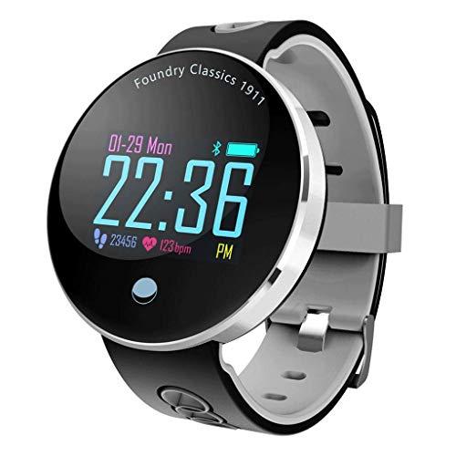 YYH Pulsera inteligente con pantalla a color, pantalla curva esférica, podómetro a prueba de agua IP68, reloj inteligente con monitorización de la presión arterial, cuatro colores opcionales 40 x 40 x