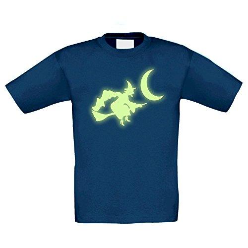 (T-Shirt Kinder Halloween - Fliegende Hexe, Dunkelblau-Glow, 110-116)