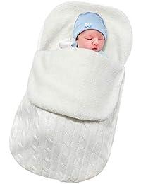 Basumee Newborn Baby Sleeping Bag, Newborns Knitted Swaddle Blanket Infant Swaddle Wrap Warm Stroller Wrap Baby Sleeping Sack