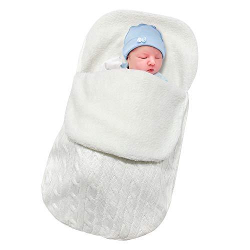 Basumee Neugeborenes Baby Gestrickt Wickeln Decke Säuglinge Baby Pucksack Winter Plüsch Schlafsack für 0-12 Monat für Kinderwagen, Babybett, Babykorb (Weiß)