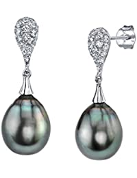 9mm Tahitian South Sea Cultured Pearl Crystal Tear Earrings