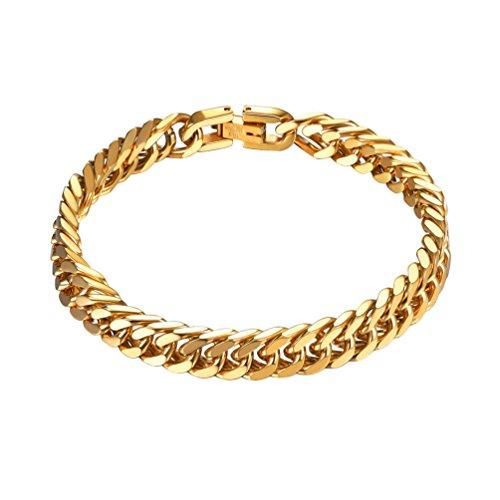 Imagen de prosteel joyería pulsera de hombre pulsera para hombre 21cm de cadena cubana de acero inoxidable brazalete metal de hombre 8mm, dorado