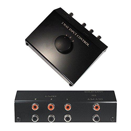 Audio RCA Umschaltbox Switch Controller / 3 Cinch IN Eingang Buchse Kupplung weiblich / 1 Cinch OUT Ausgang Buchse Kupplung weiblich / Schwarz