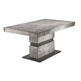 Homexperts Esszimmertisch MARLEY / moderner Küchentisch 160 cm mit Auszugsfunktion auf 220 cm / Auszugstisch in Light Atelier Beton Optik grau / 160-220 x 90 x 75cm (LxBxH)
