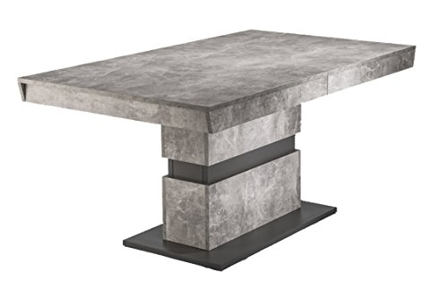 Homexperts Esszimmertisch MARLEY / moderner Küchentisch 160 cm mit Auszugsfunktion auf 220 cm / Auszugstisch in Light Atelier Beton Optik grau / 160-220 x 90 x 75cm (LxBxH) (Esstische)