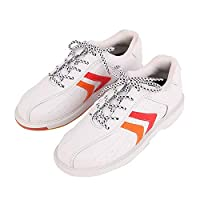 Bowls Shoes, Leather Casual Walking Shoe Non-Slip Lightweight Bowling Trainers Running Ng Gym Sport Sneakers for Women Men,White,40