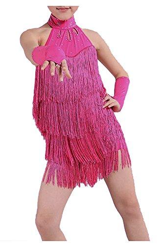 The Turkish Emporium Latin Dance Kleid Mädchen 140 cm lateinischer Fransen Kleid Ballroom Dance Kostüm Dancing Kleidung Rose Rot