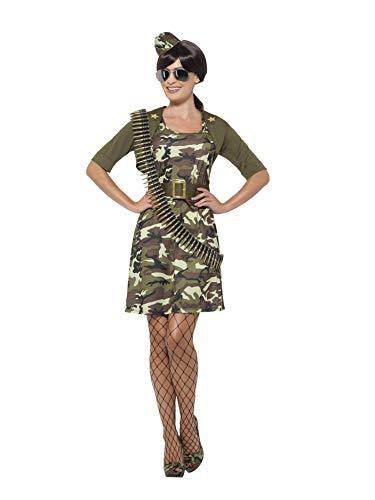 (Smiffys 45503XS - Damen Kampf Kadett Kostüm, Kleid, Jacke, Gürtel, Hut und Flieger Brille, Größe: 32-34, grün)
