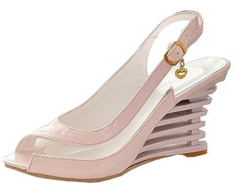 Summer Patent Leather Fashion Women High Wedge Heel Sandals (5UK, Pink)