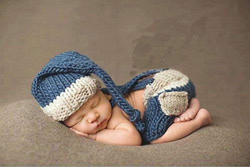 grafie Prop Baby Junge Kostüm Nette blau Stricken Handarbeit Bekleidung Häkelarbeit neugeboren Geschenk ()