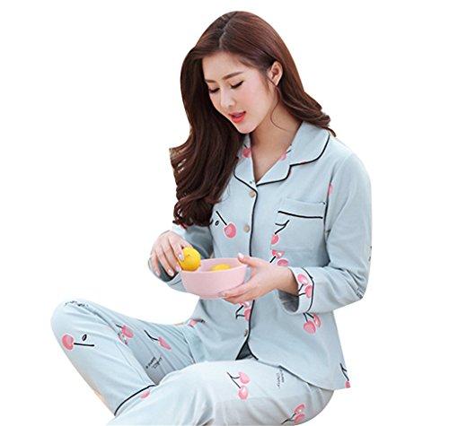 Naughtyspicy Pigiameria da donna a maniche lunghe con bottoni Top e pantaloni Set pigiama: design colorato Blu / Cherry