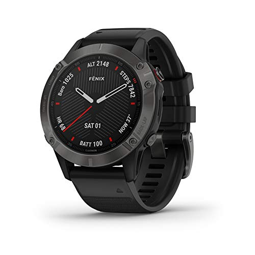 Garmin Carbon-Graphite Fenix 6 Sapphire Carbon Gray DLC with Black Band Wrist-Based Heart Rate¹ and Pulse OX² Sensors Add Insight to Your Fitness Activities