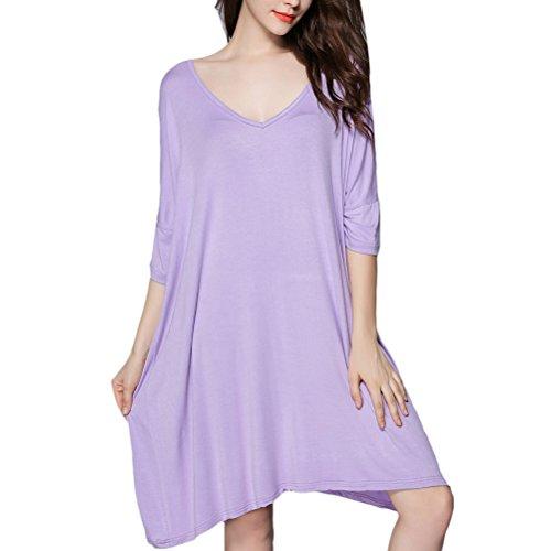 Zhuhaitf Womens Nachthemd Lounging Sleepwear Loose Half Sleeve Nightshirt Nightgown Dresses Plus (Hai Plus Size Kostümen)