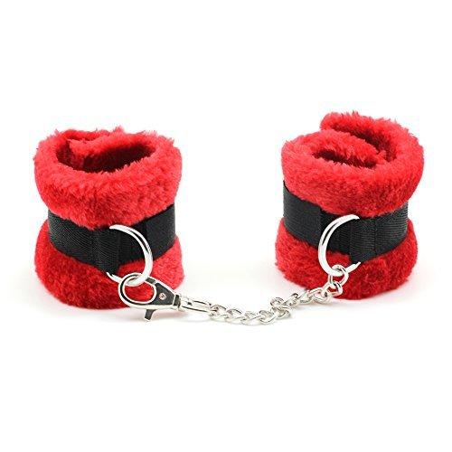 Soft Samt Handschellen Bondage & Restraints Kostüm Play Kette Zurückhaltung Hand Cuffs (Rot)