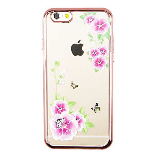 iPhone 6S Plus Hülle Silicone,iPhone 6S Plus Hülle Glitzer,iPhone 6S Plus / 6 Plus Hülle TPU Case Schutzhülle Silikon Crystal Clear Case,EMAXELERS iPhone 6S Plus Hülle Bunte Blumen Schmetterling Muste Gold TPU 1
