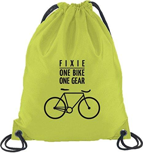 Shirtstreet24, Fixie - One Bike, Fahrrad Bahnrad Turnbeutel Rucksack Sport Beutel Limone