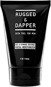 RUGGED & DAPPER Age + Damage Defense Facial Moisturizer For Men - 118 ml - Soothing Aftershave Lotion & Anti-Aging Cream Hydrator In One - All Natural & Certified Organic