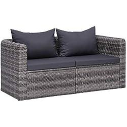 vidaXL 2X Canapés d'angle de Jardin Résine Tressée Sofa de Jardin Chaise de Jardin Meuble de Patio Mobilier de Terrasse Cour Extérieur
