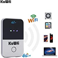 KuWFi 4G LTE Mobile WiFi Hotspot Unlocked Travel Partner Wireless 4G Router with SIM Card Slot Support LTE FDD B1/B3/B5 Support 10users