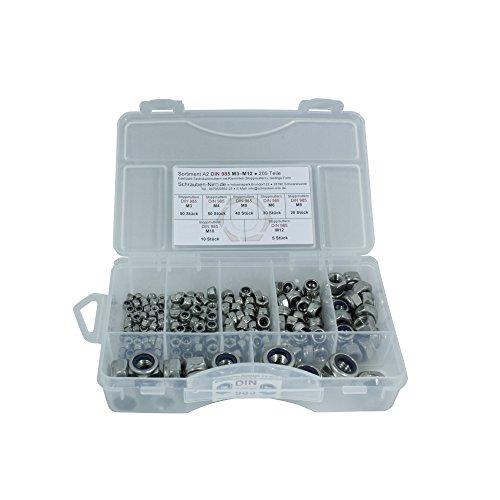 Sortiment A2 Edelstahl Sicherungsmuttern DIN 985, Durchmesser M3 bis M12, 205 Teile, Material: VA V2A
