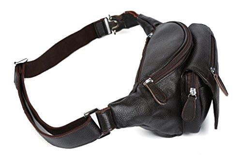 Modelshow Damen Herren Echtleder Crossbody -Tasche Schultertasche Umhängetasche Hüfttaschen (kaffee) kaffee