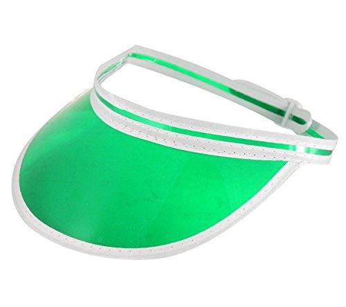 FNA Fashions New Unisex Sun Visor Pub Golf Poker Colour Clear Hat Vegas Cap 80's Fancy Dress (Green)