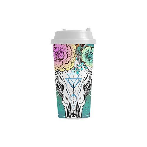 Ethnischer Ureinwohner Design Stier Schädel kundenspezifischer Druck 16 Unze doppelwandiger Plastikisolierkunstsport Wasser Flaschen Schalen Pendler Reise Kaffeetassen für Studenten Frauen Milch