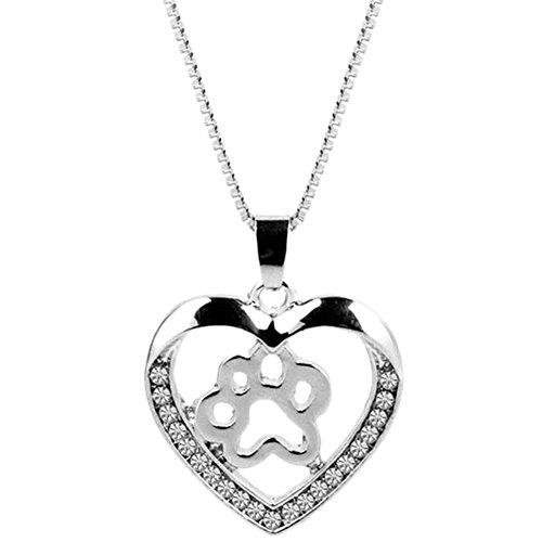 Hosaire Halskette Fashion Herz Diamant Hund Anhänger Kralle Halskette verstellbares Halsband Kette Halskette Love Geschenk