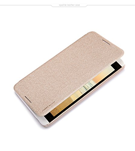 Heartly Nillkin Sparkle Leather Flip Stand Hard Bumper Back Case Cover For HTC Desire 816 - Gold