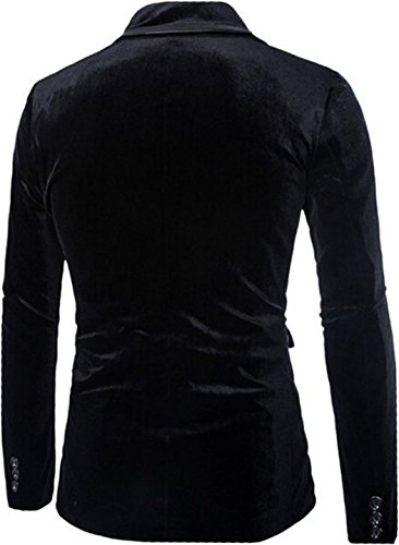 Jeansian Hommes Manteau Personality Design Corduroy Leisure Suit Jacket 9372 Black