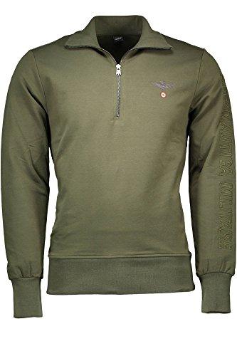 Aeronautica militare small zip linea fashion underwear felpa, verde (military green), large (taglia produttore:l) uomo