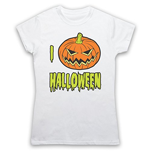 I Love Halloween Pumpkin Damen T-Shirt Weis