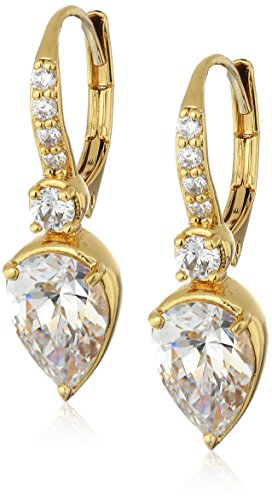 nicole-miller-pear-drop-leverback-gold-drop-earrings
