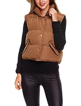 La Mujer Casual Chaleco Chaqueta De Invierno Cálido Abrigo Acolchado Monocolor