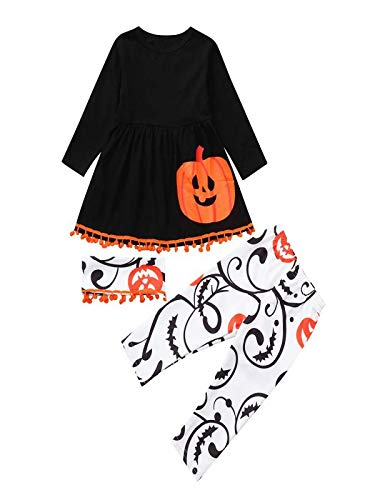 Blingko Kleid Halloween Karneval Kleinkind Baby Kleinkind Mädchen Kürbis Kleider Hosen Halloween Kostüm Outfits Set Kinder Langarm Halloween Kürbis Print Kleid + Hose DREI Stück Set - 3 Stück Langarm Kostüm