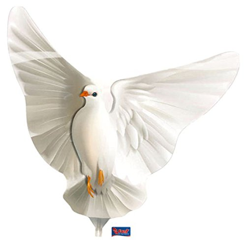1 Stück Folienballon-Stecker 'Dove / Taube', zum selberaufblasen, Maß: ca. 23 cm, LOLLIPOP® (Verkauf Ballon Zum)