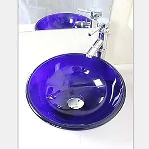 mini blau lila runde geh rtetes waschbecken aus glas mit wasserhahn einbauring und wasser. Black Bedroom Furniture Sets. Home Design Ideas