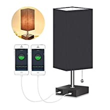 USB Bedside Table Lamp, Bedside Lamps with 2 USB Charging Port, Minimalist Fabric Lampshade Nightstand Desk Lamp Bedroom Lamps for Living Room,Office (Black)