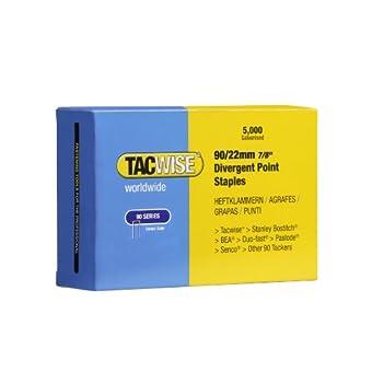 Tacwise 0313 Boîte de 5000 Agrafes à couronne étroite galvanisées 22 mm Type 90