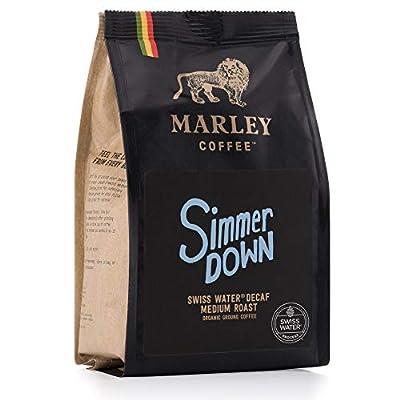 Simmer Down Decaf Medium Roast, Organic Decaffeinated Ground Coffee, Swiss Water Decaf Process, Marley Coffee, from The Family of Bob Marley, 227g by Marley Coffee