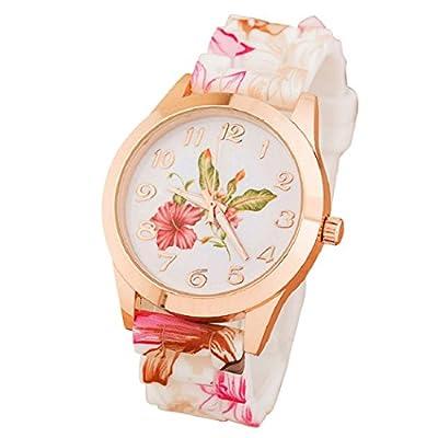 Malloom mujeres dama nuevo retro Impreso Flor silicona reloj Relojes de pulsera rosa