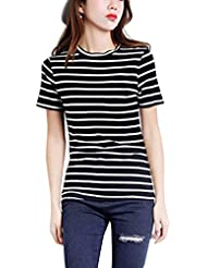 Mujeres De Cuello Redondo Manga Corta A Rayas Camiseta Blusa Tops Ocasionales Negro M