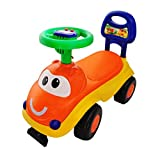 #3: PrimeKart Baby Doodle Ride-on Car with Musical Horn for Kids (Orange & Yellow)