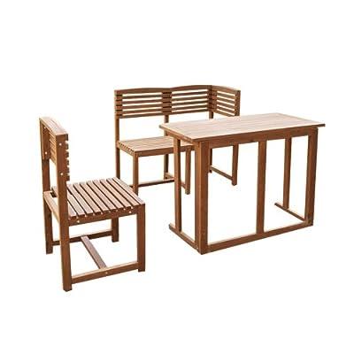 Balkonmöbel Balkonset Gartenmöbel Teak Optik Holz Stuhl Eckbank Tisch klappbar von Serina