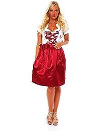 10593 Fashion4Young Damen Dirndl 3 tlg.Trachtenkleid Kleid Mini Bluse Schürze Trachten Oktoberfest