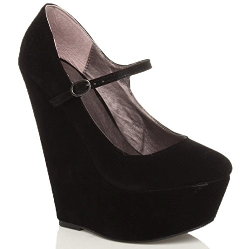Chaussures babies plateforme fermées à talons hauts compensés femmes taille Daim noir