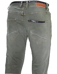D-Skins - Jeans homme vert kaki slim carrot - DK-8359